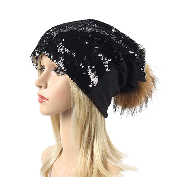 2925d3069589b SaiDeng Fashion Sequin Cap Women Shimmer Hat Knit Cute Girls Hat Ear  Protectors Warm Headgear with