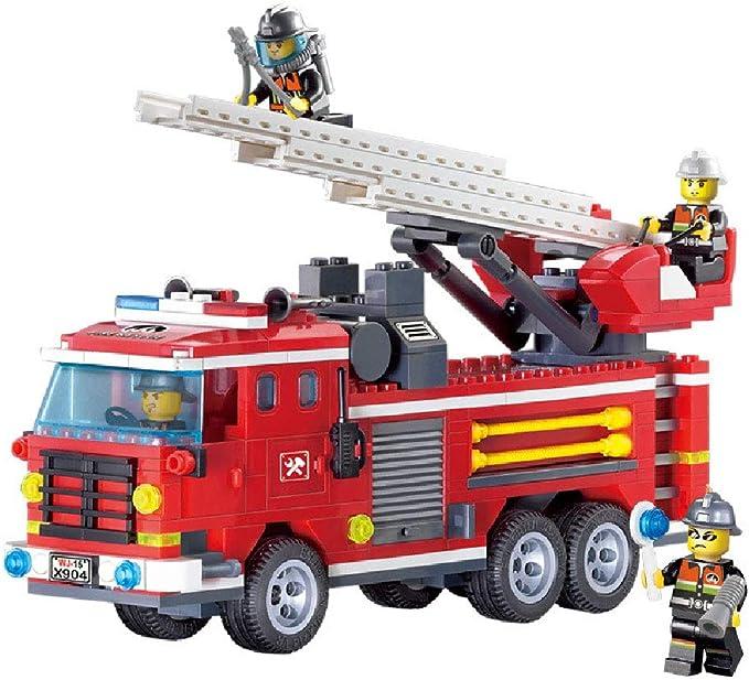 ILYO de los niños de los Bloques de construcción de Fuego Tres Puentes Escalera Fuego camión de Fuego escenas de la Figura Humana Modelo Juguetes: Amazon.es: Hogar