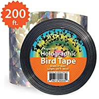 200-foot By 2-inch Bird Repellent Scare Tape Holographic Bird Scare Ribbon, Double Side Laser Bird Scare Tape