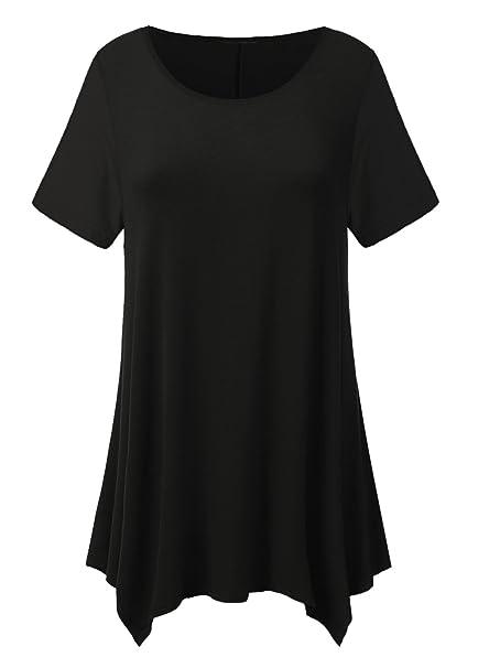 8b7445bd74d Amazon.com  imimimomo Womens Short Sleeve Flare Tunic Tops Loose Fit  Leggings Comfy Flattering T Shirt (Black