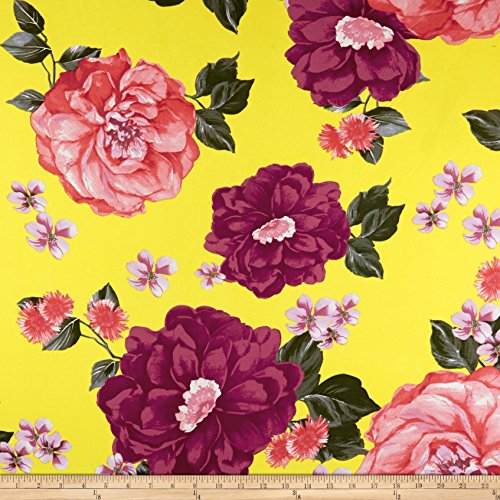 Fabric Merchants Double Brushed Poly Jersey Knit Large Floral Pink/Yellow Yard ()