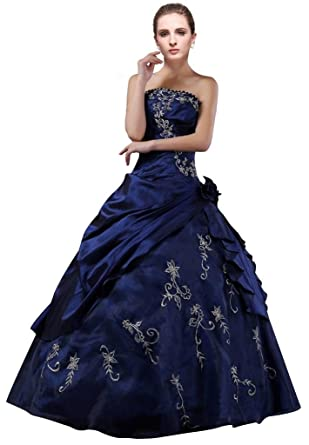 DLFashion Strapless A-line Embroidered Taffeta Prom Dress XS-2 Blue