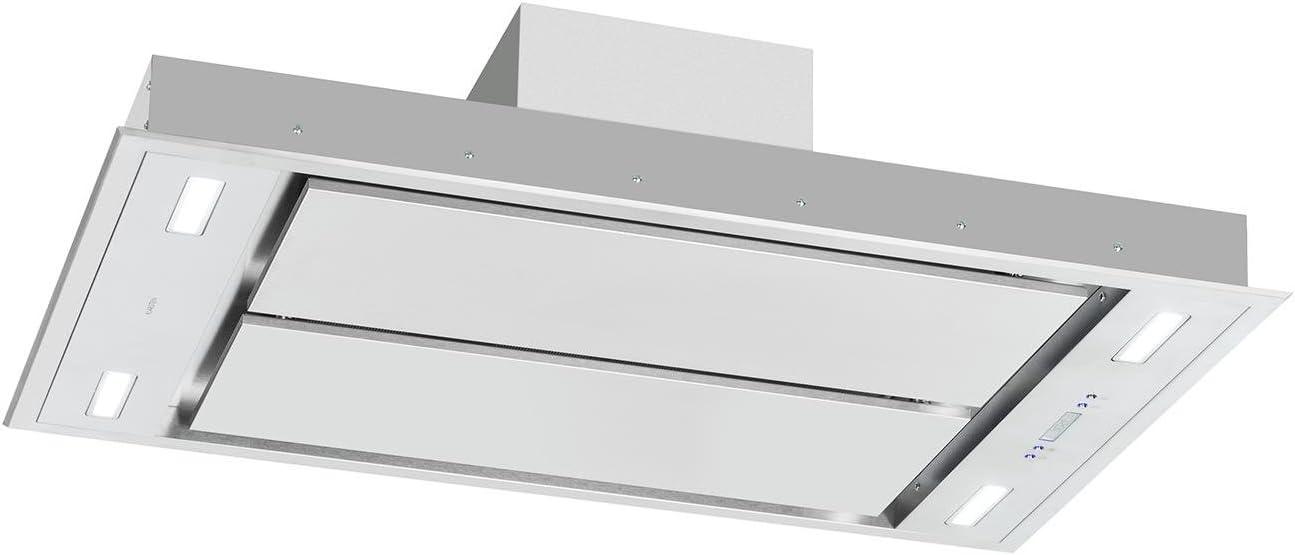 Klarstein Secret Service Campana extractora - Extractor de techo 800 m³/h, 220 W, Mando, 4 filtros grasa, 3 niveles, Panel táctil, Silenciosa, Acero inoxidable