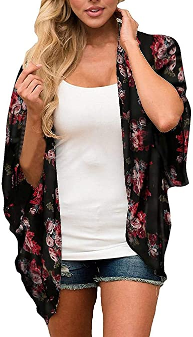 Cardigans Mujer Kimono 2019 Nuevo SHOBDW Pareos Ropa de Baño Cover Up para Mujer Negro Largo Playa de Verano Flores Chal Gasa Boho Suelto Tops Blusa Tallas Grandes S-3XL: Amazon.es: Ropa y