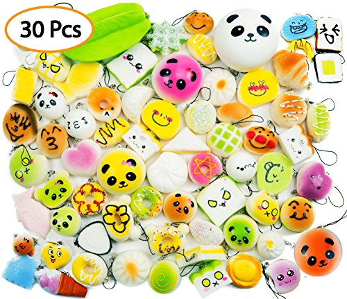Price comparison product image 30 Pcs Random Slow Rising Squishies Cream Scented Kawaii Simulation - Medium Mini with 1 PC Jumbo Large Squishy - Food Cake/Panda/Donut/Ice Cream Toys Cell Phone Straps Key Chains Stress Relief Charms