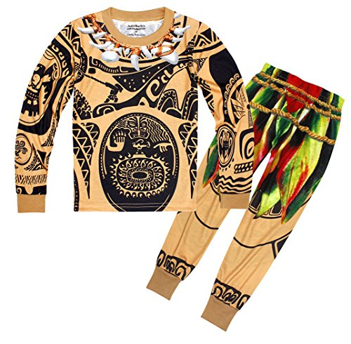 Filare Maui Moana Costume Pajamas Set Boys Sleepwear Clothes Halloween Cosplay Party -