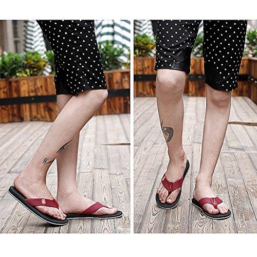 Zapatillas Baño Zapatillas Cuarto Verano de Moda Playa de Casual de Negro Hombre de Sandalias RRUr1vqw