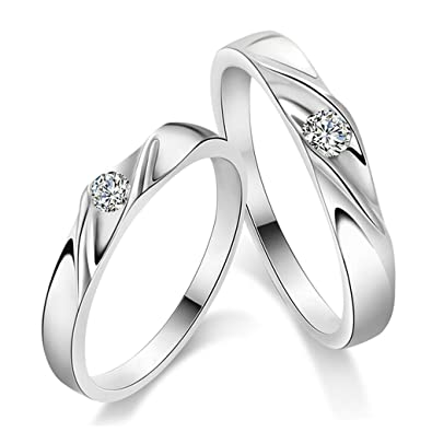 ANAZOZ S925 Silver Solitaire Zirconia Couple Wedding Ring Engagement(Price  for 1pc only)