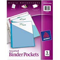 "Avery Binder Pockets, Assorted Colors, 8.5"" x 11"", Acid-Free, Durable, 60 Total Slash Jackets, 12 Packs (75254)"