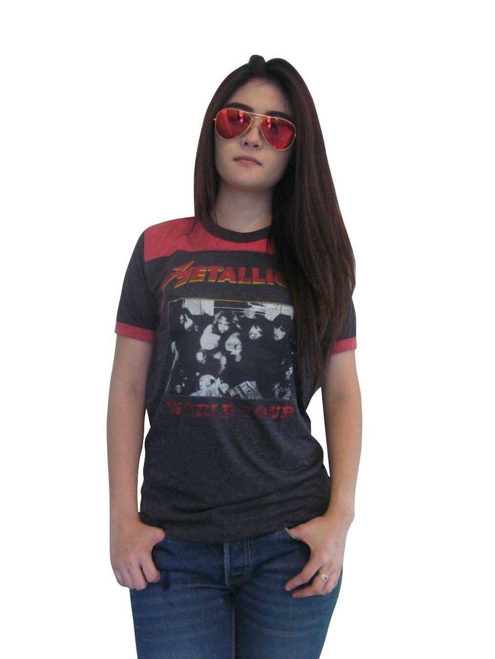 Bunny Brand Women's Metallica Concert World Tour Ringer T-Shirt Jersey Thin Soft (Small)