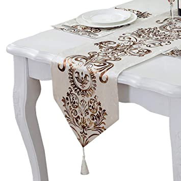 Superb Phnam Floral Suede Table Runner And Placemat Set With Tassel Pendant For Kitchen Dining Room White Set 13 X 120 Inch Lamtechconsult Wood Chair Design Ideas Lamtechconsultcom