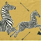 Caspari Entertaining Cocktail Napkins, Zebras Gold, Pack of 20