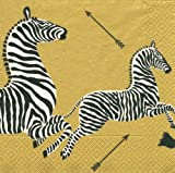 Entertaining with Caspari Dinner Napkins, Zebras Gold, Pack of 20