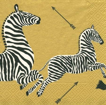 Entertaining with Caspari Cocktail Napkins, Zebras Gold, Box of 40 Caspari Inc. 12181B