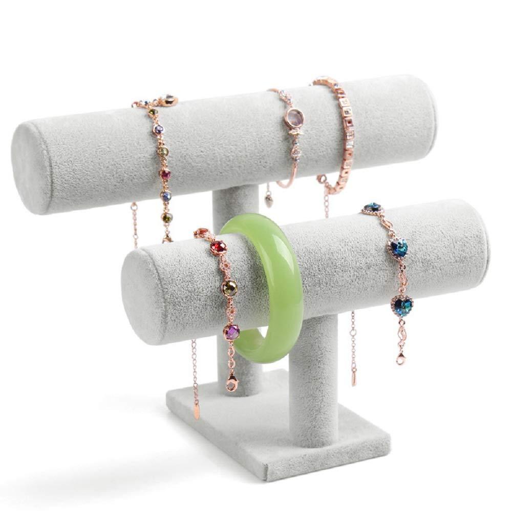 Wuligirl 2 Tier Velvet Bracelets Watches Holder Jewelry Display Stand Organizer Storage Bangle Necklace Anklet Showcase Towers(2 Tier Velvet)