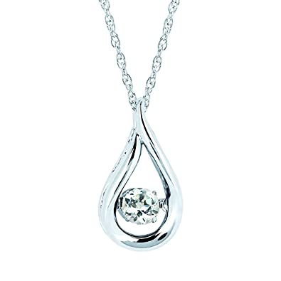 Brilliance in Motion 925 Sterling Silver Dancing White Sapphire April  Birthstone Pendant Necklace with 18 quot  266326344