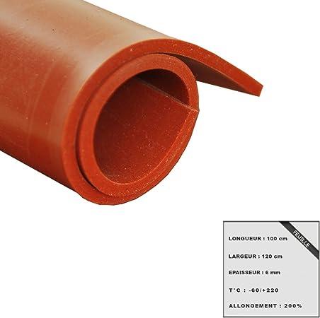 Feuille caoutchouc silicone rouge 100x120cm épaisseur 6mm