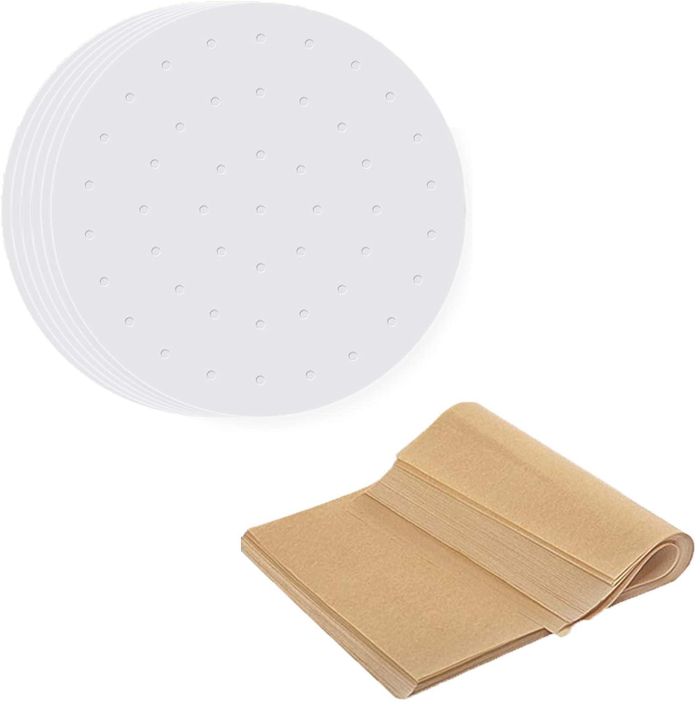 Numola Air Fryer Liners-9 Inches 100pcs Perforated Parchment Paper and 12x16 Inch Paper Baking Sheets 30 Pcs Non-Stick Precut Baking Parchment Liner Bundle