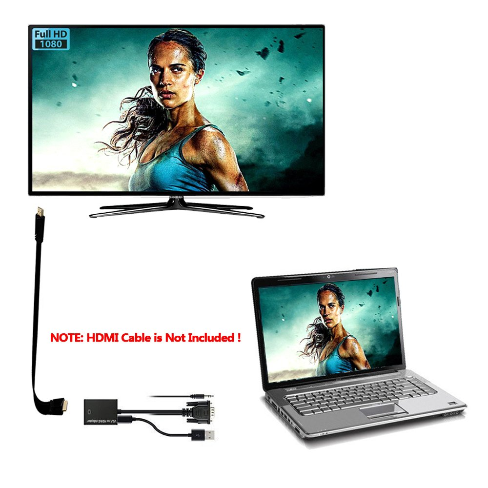 VGA to HDMI, Urgod VGA Male to HDMI Female Adapter with 1080P HD Video Converter Cord with 3.5mm Audio Cable & USB Power Cable For Old PC to New TV/Monitor/Projector with HDMI by Urgod (Image #6)