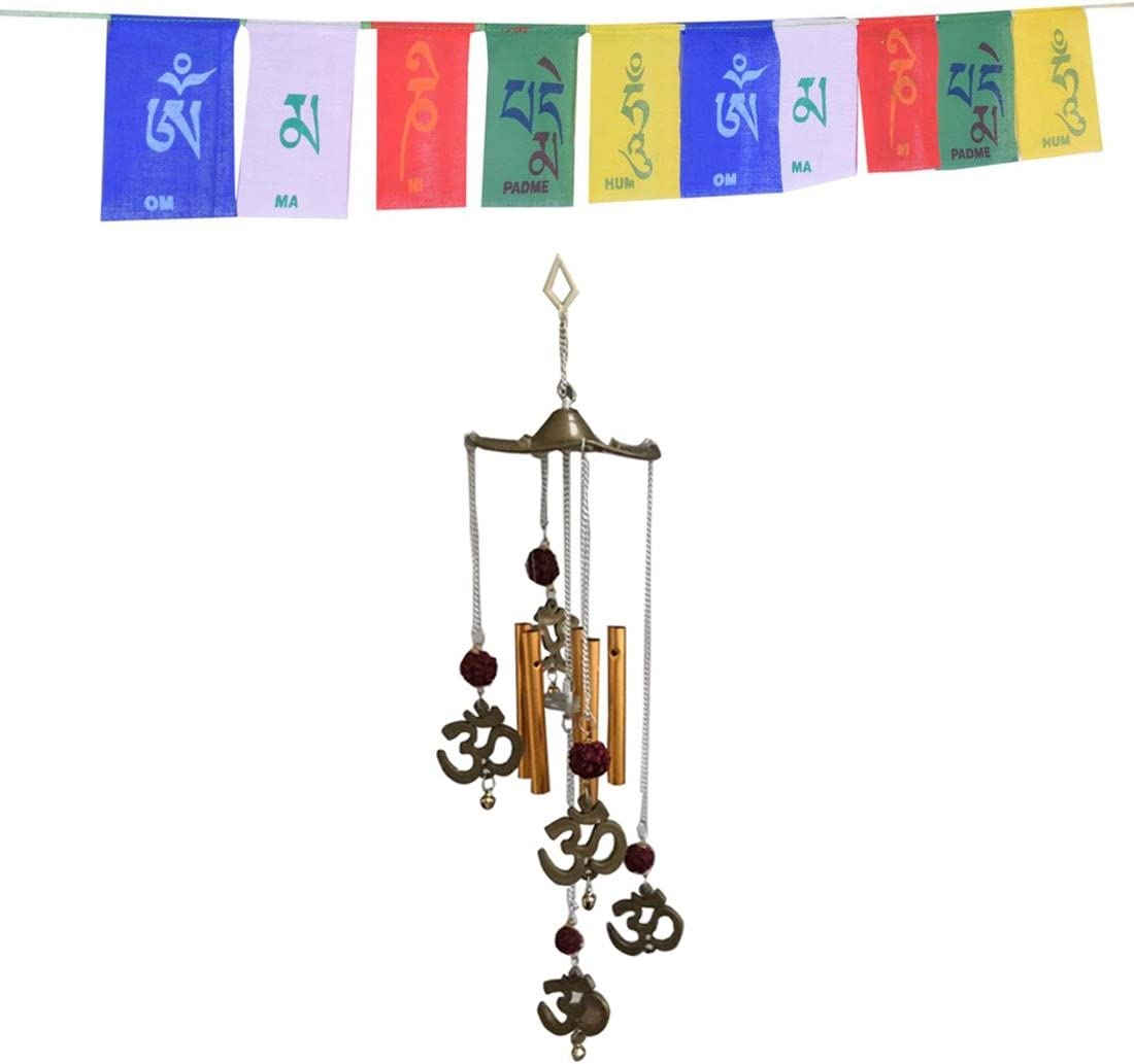 Ryme Vastu/Feng Shui Om Rudraksha - Carillón de Viento con Bandera tibetana Budista - Combo estándar marrón: Amazon.es: Hogar