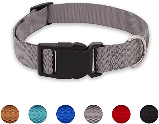 BluePaw-7 Classic Colors Comfort Premium Nylon Dog Collar Easy to Clean Solid Color Pattern for Walking Training Dogs