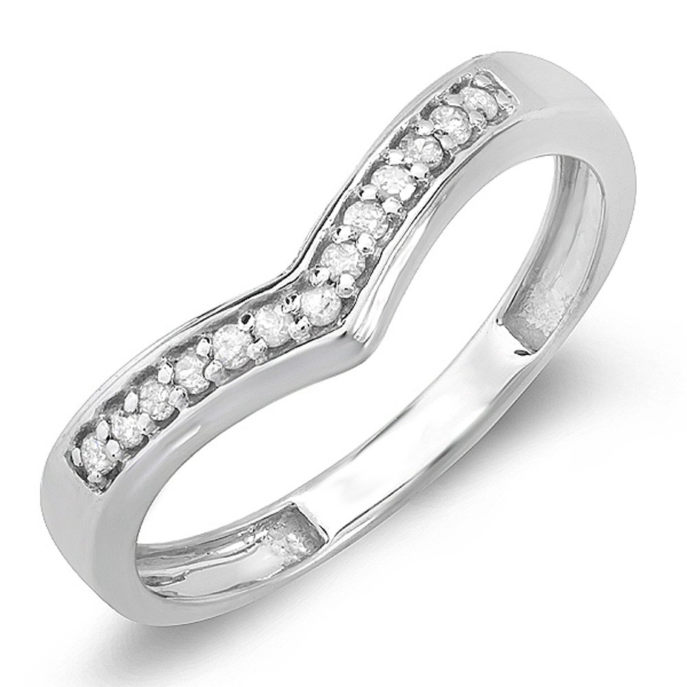 Dazzlingrock Collection 0.15 Carat (ctw) Sterling Silver White Round Real Diamond Wedding Stackable Band Anniversary Guard Chevron Ring, Size 5 by Dazzlingrock Collection