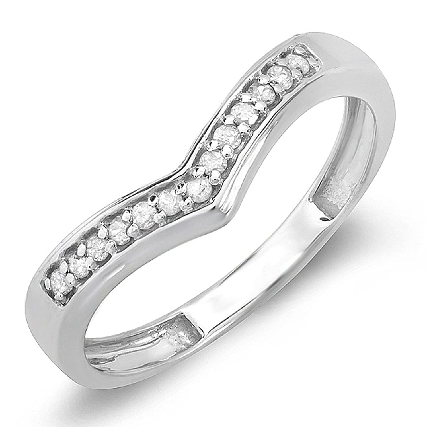0.15 Carat (ctw) 10K White Gold Round Real Diamond Wedding Stackable Band Anniversary Guard Chevron Ring