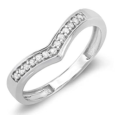 015 carat ctw sterling silver round real diamond wedding stackable band guard chevron ring - Real Diamond Wedding Rings