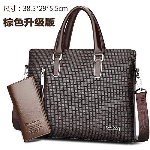ZHUDJ New Tide Package Fashion Casual Men Bag Men Retro Bag Business Briefcase British Style Handbag, Upgrade Brown (Suit)
