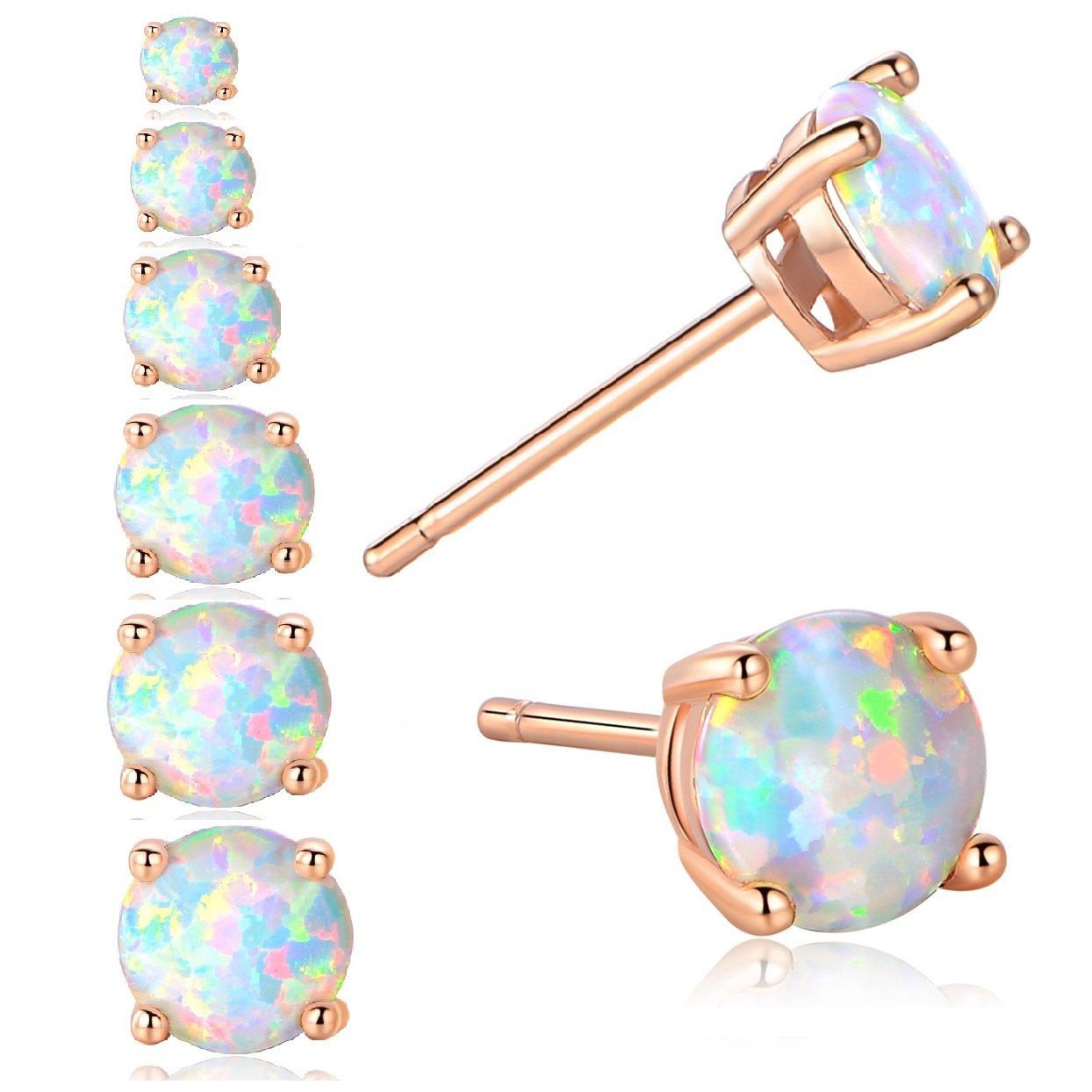 GEMSME 18K Rose Gold Plated 3/4/5/6/7/8mm Round Opal Stud Earrings Pack of 6