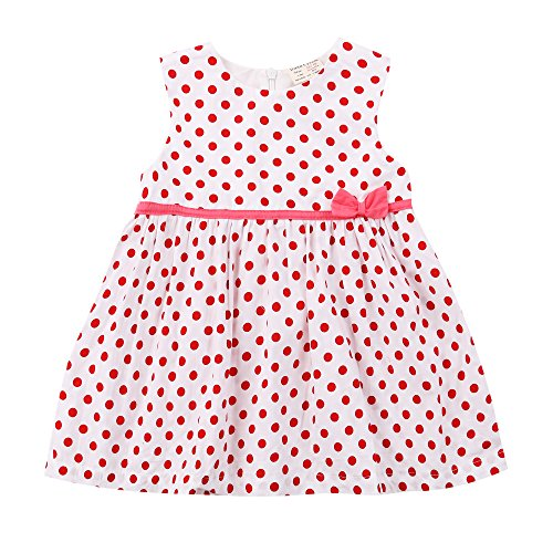 [Baby Girl Polka Dots Dress Toddler Cotton Vest Playwear Skirt for 9-48 Months, Pink, 92cm (18-24M)] (Bunny Leotard Costume)