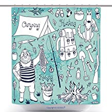 Unique Shower Curtains Fishing Hunting Camping Set Hand Drawing Design Elements Vector Illustration 206287279 Polyester Bathroom Shower Curtain Set With Hooks