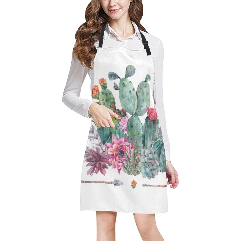 InterestPrint Boho Watercolor Cactus Flowers Feathers and Arrows All Over Print Adjustable Bib Apron with Pockets - Commercial Restaurant and Home Kitchen Apron for Women Men, Plus Size