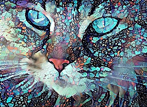 - Blue Eyes Cat Face Pet Portrait Fine Art Print - Abstract Colorful Wall Decor Poster 8.5 x 11