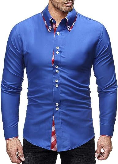 Yvelands Camisas de Vestir para Hombres, Moda Casual Top Plaid Panel Camisa de Manga Larga para Hombre Liquidación: Amazon.es: Ropa y accesorios