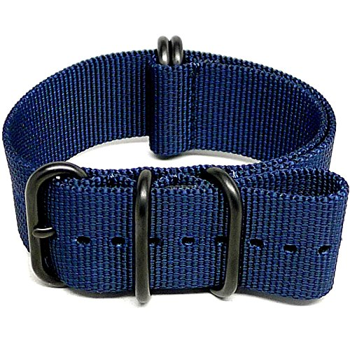 DaLuca Ballistic Nylon Military Watch Strap - Navy (PVD Buckle) : 20mm