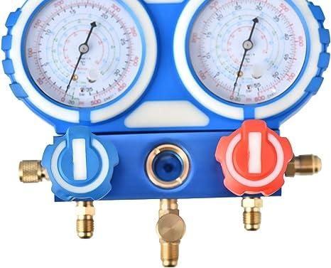 Juego de man/ómetros de diagn/óstico de Aire Acondicionado para R12 R22 R404A R134A KKTECT Manguera de Carga de refrigerante Herramientas de Aire Acondicionado con Manguera y Gancho