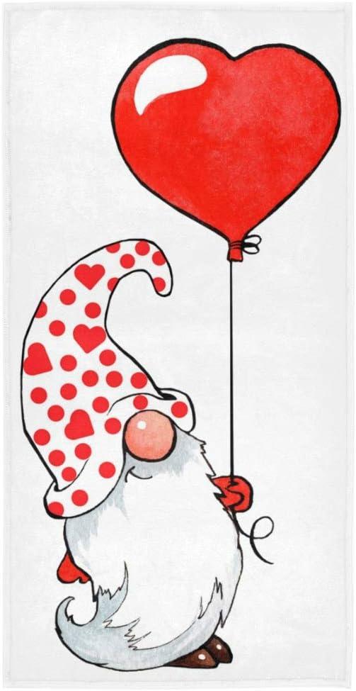 Exnundod Red Heart Gnome Hand Towel Home Bathroom Decor Valentine Balloon Dwarf Cotton Beach Bath Towels Plush for Women Kids Shower