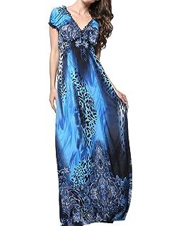 ZhuiKun Damen Leopard Druck Böhmische V-Ausschnitt Kleid Strandkleid Große  Größen daf4d0d729