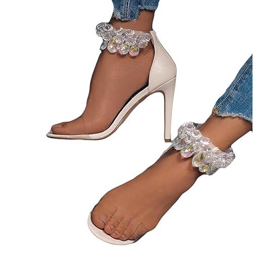 e8b4963ec6e1 SWPS Women Fashion Sandals Slippers Leopard Open Toed High Heels  Transparent  Amazon.ca  Shoes   Handbags