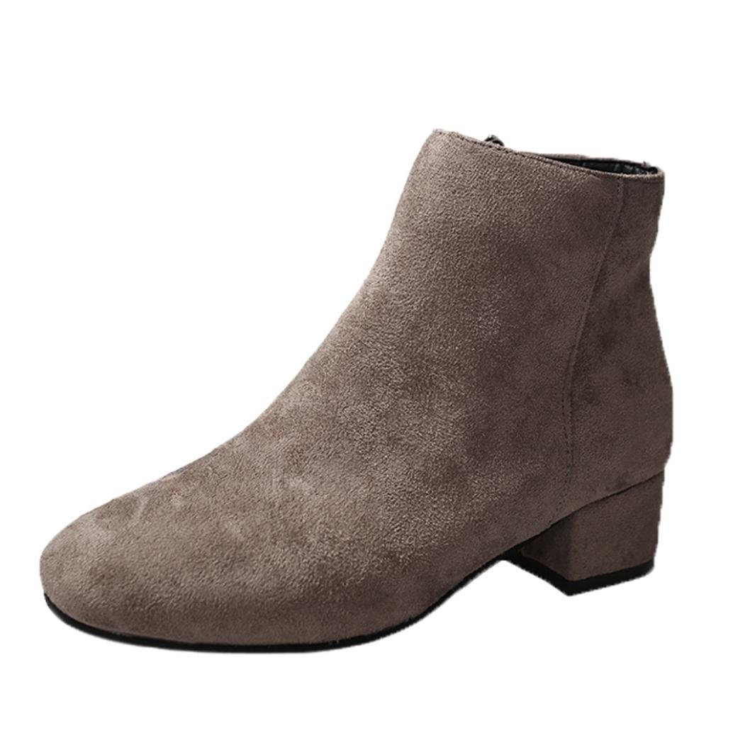 Kinrui Womens Wedge Heel Ankle Boots Flock Round Toe Boots Party Western Fabric Shoes (Brown, US:6.5)