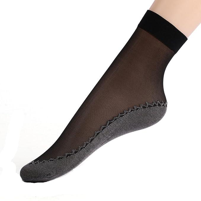 c638f49e3 Amazon.com  LifeVV Women s 5 Pairs Sole Sheer Ankle Socks High Tights  Hosiery Socks (Black)  Clothing
