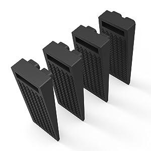 Door Stop Wedge, BearMoo Flexible Door Stopper Rubber 4 Pack - Smart Stackable Slip-Resistant Design - 100% Non-Toxic Odorless Doorstops Work Well on All Surfaces (Black)