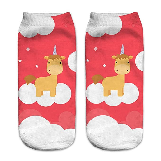 Calcetines tobilleros deportivos, de la marca Jysport, con estampado de unicornio, Clouds Unicorn in red: Amazon.es: Deportes y aire libre