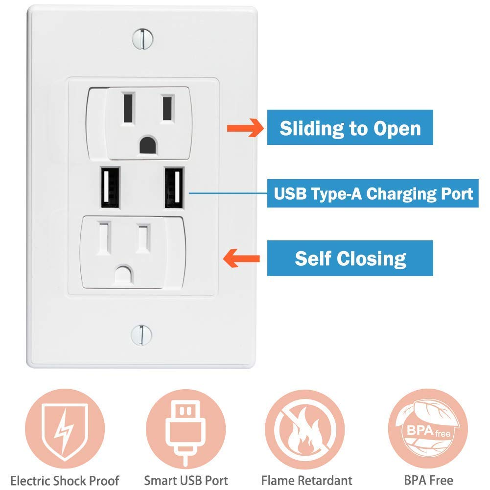 BUENAVO Universal Electrical Outlet Covers with USB Port, Baby Safety Self-Closing Wall Socket Plugs Plate Alternate for Child Proofing, BPA Free (6 Pack) by BUENAVO (Image #3)