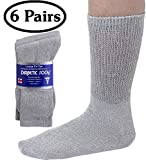 Best Diabetic Socks - Diabetic Socks Mens Cotton 6-Pack Crew Grey By Review