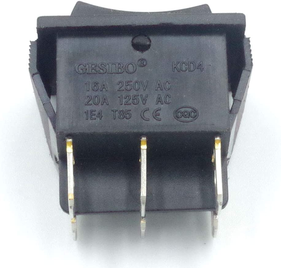 Parther 12Pcs AC 20A//125V 15A//250V 6 Pins 3 Position ON//OFF Black Boat Rocker Switch Toggle 12Pas-Black-ON OFF ON 6Pin