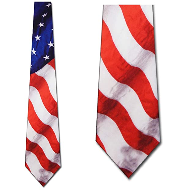 a48fd11879bd Amazon.com: Flag tie Stars Stripes Patriotic Men's Neck Tie by Ralph ...