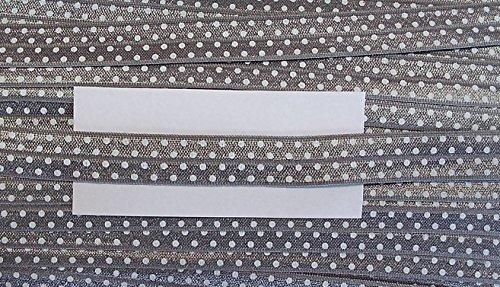 5 m elastisches Einfaßband 14 mm mit weißen Punkten (hell grau)