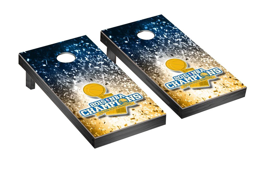 2015 NBA Champions Golden State Warriors Cornhole Game Set Confetti Version by Victory Tailgate